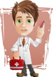 Physician With Stethoscope Cartoon Vector Character AKA Kyle On-the-Call - With Emergency Call and Simple Shapes Background