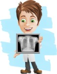 Physician With Stethoscope Cartoon Vector Character AKA Kyle On-the-Call - Smiling and Looking at X-Ray with Flat Background