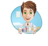 Physician With Stethoscope Cartoon Vector Character AKA Kyle On-the-Call - With Pills and Hospital Background Illustration