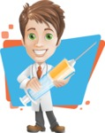 Physician With Stethoscope Cartoon Vector Character AKA Kyle On-the-Call - With Big Syringe and Colorful Background