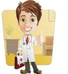 Physician With Stethoscope Cartoon Vector Character AKA Kyle On-the-Call - With Office Background Illustration