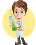 Physician With Stethoscope Cartoon Vector Character AKA Kyle On-the-Call - With a Lab Flask and Flat Background