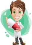 Physician With Stethoscope Cartoon Vector Character AKA Kyle On-the-Call - With Simple Style Background