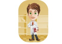 Physician With Stethoscope Cartoon Vector Character AKA Kyle On-the-Call - With Files Background