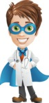 Physician With Stethoscope Cartoon Vector Character AKA Kyle On-the-Call - Dressed as Superhero