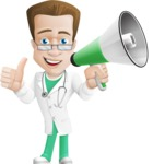 Expert Male Doctor Cartoon Vector Character AKA Isaac On-Appointment - Loudspeaker