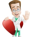 Expert Male Doctor Cartoon Vector Character AKA Isaac On-Appointment - Love