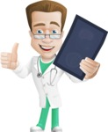 Expert Male Doctor Cartoon Vector Character AKA Isaac On-Appointment - Radiography 2