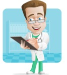 Expert Male Doctor Cartoon Vector Character AKA Isaac On-Appointment - Shape6