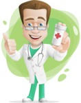 Expert Male Doctor Cartoon Vector Character AKA Isaac On-Appointment - Shape9