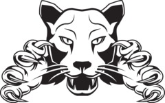 Vector Mascot Collection - Black and White  Panther Mascot
