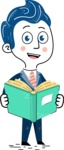 112 Blue Hand-Drawn Cartoon Character Illustrations - Book 1