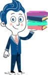 112 Blue Hand-Drawn Cartoon Character Illustrations - Book 2