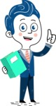 112 Blue Hand-Drawn Cartoon Character Illustrations - Book 3