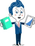 112 Blue Hand-Drawn Cartoon Character Illustrations - Book and iPad
