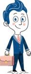112 Blue Hand-Drawn Cartoon Character Illustrations - Hand-drawn cartoon character with a briefcase illustration