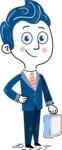 112 Blue Hand-Drawn Cartoon Character Illustrations - Brifcase 2