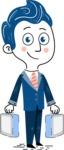 112 Blue Hand-Drawn Cartoon Character Illustrations - Brifcase 3