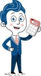 112 Blue Hand-Drawn Cartoon Character Illustrations - Calculator