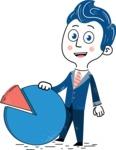 112 Blue Hand-Drawn Cartoon Character Illustrations - Hand-drawn cartoon character with an analytics chart illustration