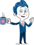 112 Blue Hand-Drawn Cartoon Character Illustrations - Coffee