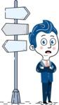 112 Blue Hand-Drawn Cartoon Character Illustrations - Crossroad