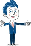 112 Blue Hand-Drawn Cartoon Character Illustrations - Direct Attention 2