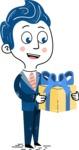 112 Blue Hand-Drawn Cartoon Character Illustrations - Gift