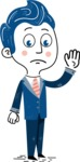 112 Blue Hand-Drawn Cartoon Character Illustrations - Goodbye