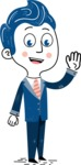 112 Blue Hand-Drawn Cartoon Character Illustrations - Hand-drawn cartoon character waving for hello illustration