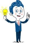 112 Blue Hand-Drawn Cartoon Character Illustrations - Idea 1