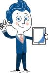 112 Blue Hand-Drawn Cartoon Character Illustrations - iPad 1