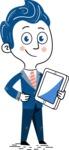 112 Blue Hand-Drawn Cartoon Character Illustrations - iPad3