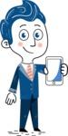 112 Blue Hand-Drawn Cartoon Character Illustrations - Hand-drawn cartoon character showing a phone illustration
