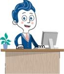 112 Blue Hand-Drawn Cartoon Character Illustrations - Laptop 1