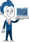 112 Blue Hand-Drawn Cartoon Character Illustrations - Laptop 2
