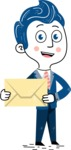 112 Blue Hand-Drawn Cartoon Character Illustrations - Letter