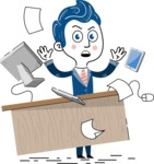 112 Blue Hand-Drawn Cartoon Character Illustrations - Office Fever