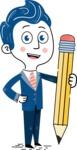 112 Blue Hand-Drawn Cartoon Character Illustrations - Pencil