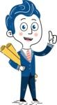112 Blue Hand-Drawn Cartoon Character Illustrations - Plans