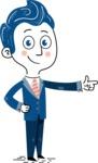 112 Blue Hand-Drawn Cartoon Character Illustrations - Hand-drawn cartoon character pointing with a hand illustration