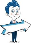 112 Blue Hand-Drawn Cartoon Character Illustrations - Pointer 2