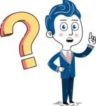 112 Blue Hand-Drawn Cartoon Character Illustrations - Question