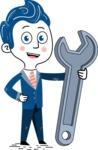 112 Blue Hand-Drawn Cartoon Character Illustrations - Repair