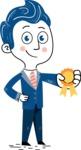 112 Blue Hand-Drawn Cartoon Character Illustrations - Ribbon
