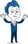 112 Blue Hand-Drawn Cartoon Character Illustrations - Sad