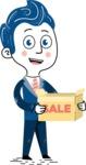 112 Blue Hand-Drawn Cartoon Character Illustrations - Sale