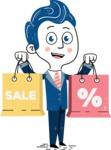 112 Blue Hand-Drawn Cartoon Character Illustrations - Hand-drawn cartoon character holding shopping bags illustration
