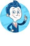 112 Blue Hand-Drawn Cartoon Character Illustrations - Shape 1