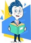 112 Blue Hand-Drawn Cartoon Character Illustrations - Shape 10